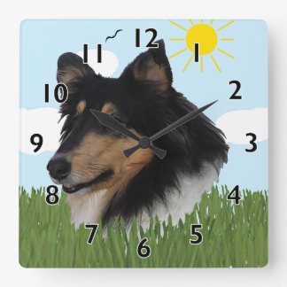 Rough Collie Portriat Square Wall Clock