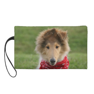 Rough collie puppy dog cute beautiful photo wristlet