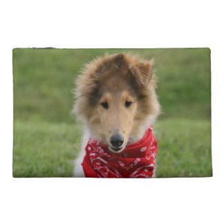 Rough collie puppy dog cute beautiful photo travel accessories bags