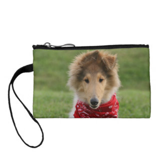Rough collie puppy dog cute beautiful photo change purse