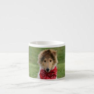 Rough collie puppy dog cute beautiful photo espresso mug