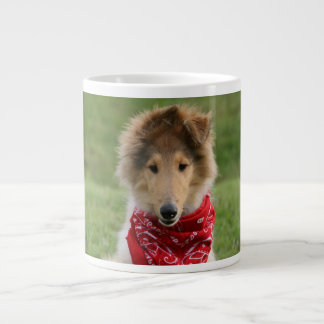 Rough collie puppy dog cute beautiful photo jumbo mug