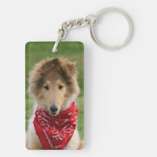 Rough Collie puppy dog cute beautiful photo Double-Sided Rectangular Acrylic Key Ring