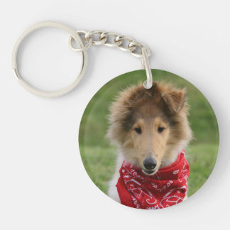 Rough Collie puppy dog cute beautiful photo Double-Sided Round Acrylic Keychain
