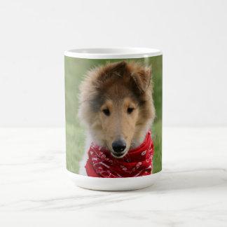 Rough collie puppy dog cute beautiful photo basic white mug