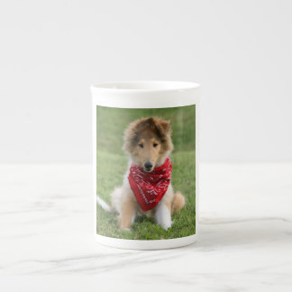 Rough collie puppy dog cute beautiful photo bone china mug