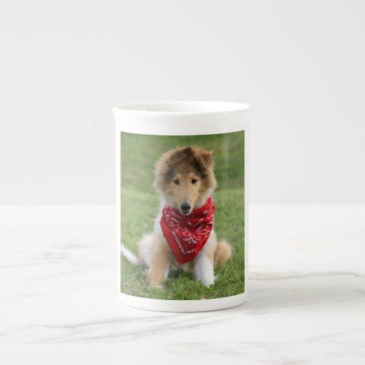 Rough collie puppy dog cute beautiful photo porcelain mugs