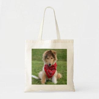 Rough collie puppy dog cute beautiful photo budget tote bag