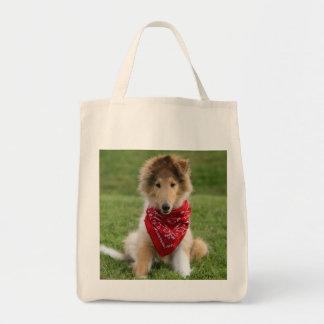 Rough collie puppy dog cute beautiful photo bags