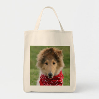 Rough collie puppy dog cute photo grocery tote bag