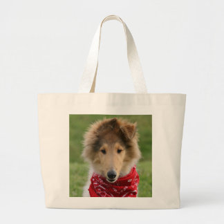 Rough collie puppy dog cute photo tote bag