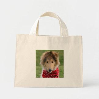 Rough collie puppy dog cute photo tote bag