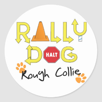 Rough Collie Rally Dog Classic Round Sticker