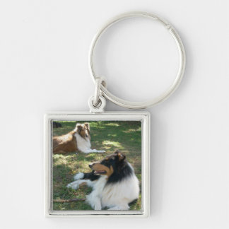 Rough Collies Silver-Colored Square Key Ring