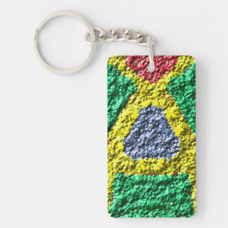 Rough colorful pattern Double-Sided rectangular acrylic key ring