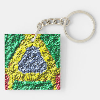 Rough colorful pattern Double-Sided square acrylic key ring