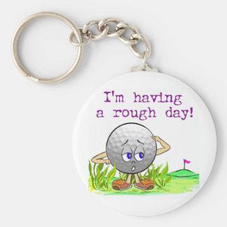Rough Day Basic Round Button Key Ring