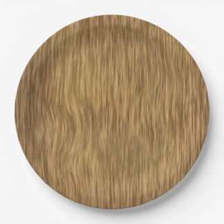 Rough Faux Wood Background in Natural Color Paper Plate