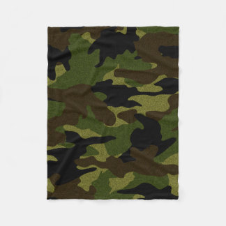 Rough Green Camo Military Custom Fleece Blankets