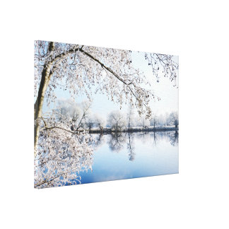Rough hoar frost at the river Havel (Germany) Canvas Print