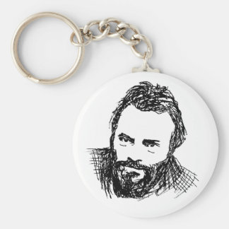 Rough Ink Sketch of Hitch Basic Round Button Key Ring