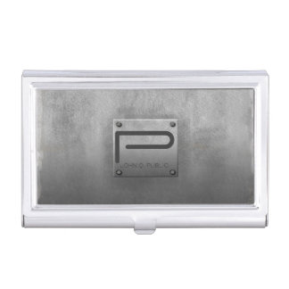 Rough Metal Plate Gray ID327 Business Card Holder