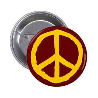 Rough Peace Symbol - Cream on Dark Maroon 6 Cm Round Badge