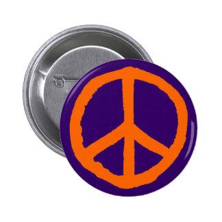 Rough Peace Symbol - Orange on Deep Purple 6 Cm Round Badge