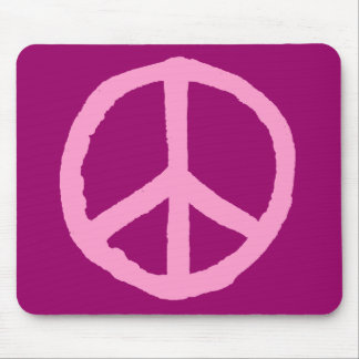 Rough Peace Symbol - Pink on Dark Pink Mouse Pad