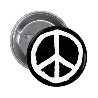 Rough Peace Symbol - White on Black 6 Cm Round Badge
