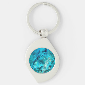 Rough Raw Turquoise Texture Silver-Colored Swirl Key Ring