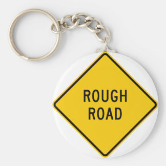 Rough Road Highway Sign Basic Round Button Key Ring