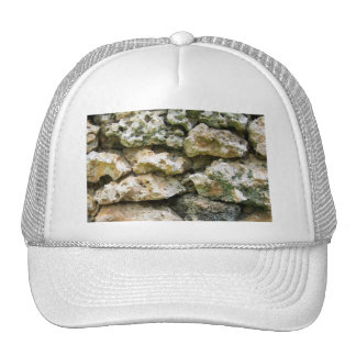 Rough rock wall with moss custom background mesh hat