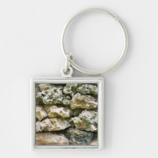 Rough rock wall with moss custom background Silver-Colored square key ring