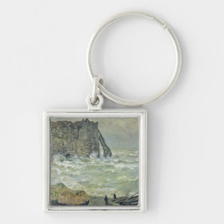 Rough Sea at Etretat, 1883 Silver-Colored Square Key Ring
