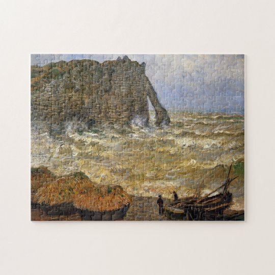 Rough Sea at Etretat Monet Fine Art Jigsaw Puzzle