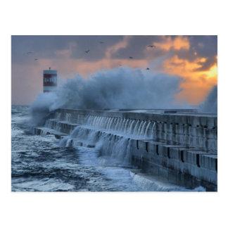 Rough sea at Porto, Portugal Postcard