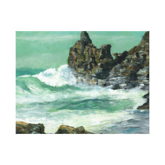 Rough sea at Trevaunance Cove St Agnes Canvas Print