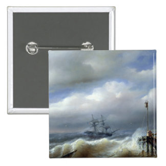Rough Sea in Stormy Weather, 1846 15 Cm Square Badge