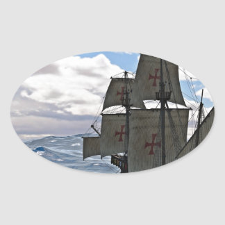 Rough Seas Ahead Oval Sticker