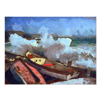 Rough Seas of a Brittany Dock Photographic Print
