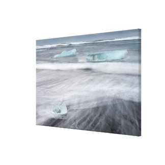Rough Seascape with ice, iceland Canvas Print