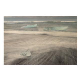Rough Seascape with ice, iceland Wood Wall Decor