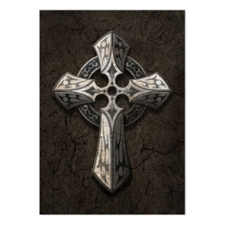 Rough Stone Gothic Cross with Tribal Inlays Business Cards