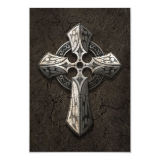 Rough Stone Gothic Cross with Tribal Inlays Invite