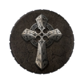 Rough Stone Gothic Cross with Tribal Inlays Candy Tin