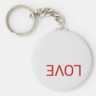 Rough text love basic round button key ring