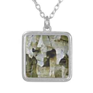 rough white rock ceiling silver plated necklace