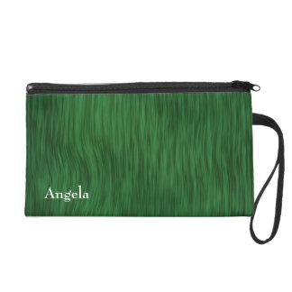 Rough Wood Grain Background - Green Wristlet Clutches