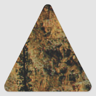 rough yellow surface triangle sticker
